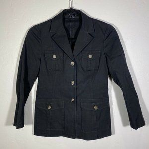 Theory Button Front Collared Blazer Long Slv Sz 6